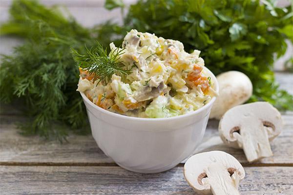 Рецепты салатов с сырыми шампиньонами